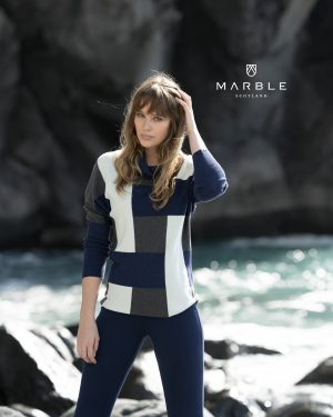 Marble 5872 cowl neck jumper with full length ribbed from the elbow sleeves