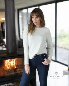 Marble 5879 ribbed crew neck cotton jumper with full length sleeves