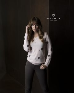 Marble 5882 v neck spot print cotton jumper with full length sleeves