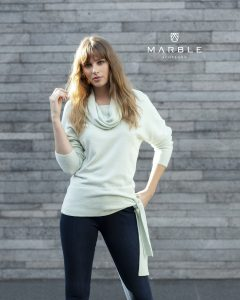 Marble 5891 cowl neck full length sleeve jumper with side tie