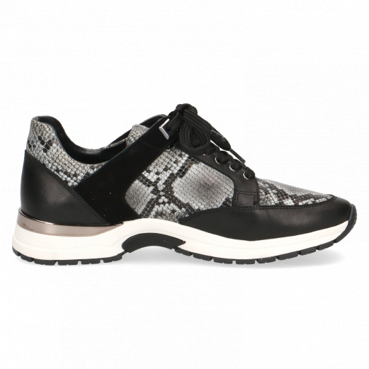 Caprice 9-23700-25 black snake combination leather trainer