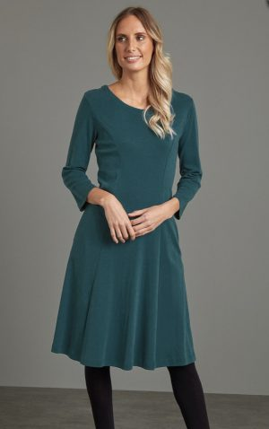 Adini cotton rib Kathi dress in teal