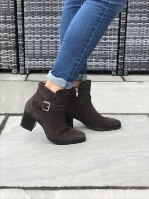 "Caprice 25325 suede leather ankle boot with zip fastening and buckle decoration 2.5"" heel"
