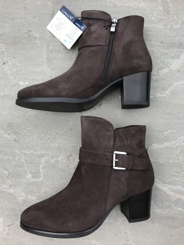 """Caprice 25325 suede leather ankle boot with zip fastening and buckle decoration 2.5"""" heel"""