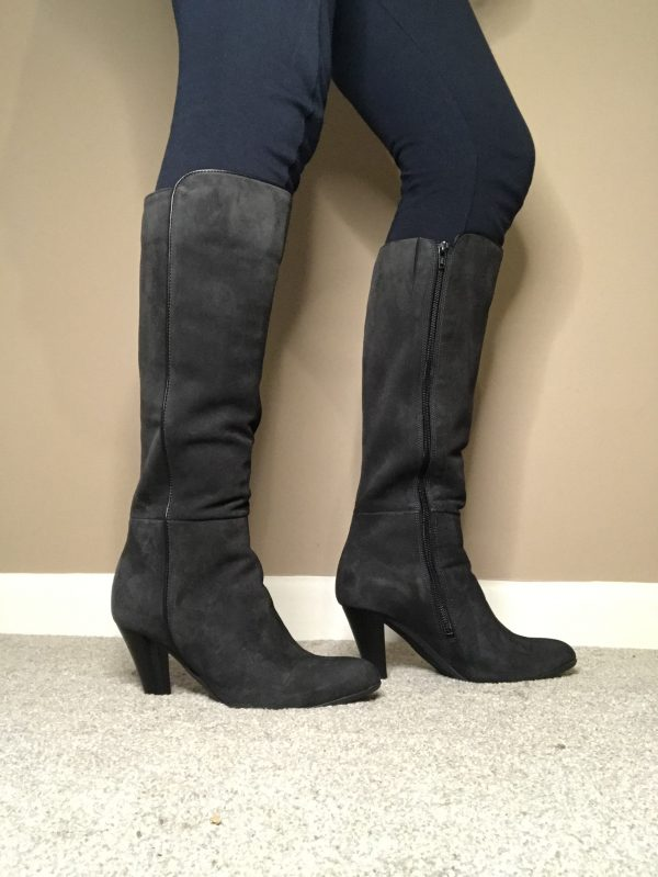 """Cefalu """"Vauxhall"""" BL485320 dark grey suede leather boot with 3.5"""" heel"""