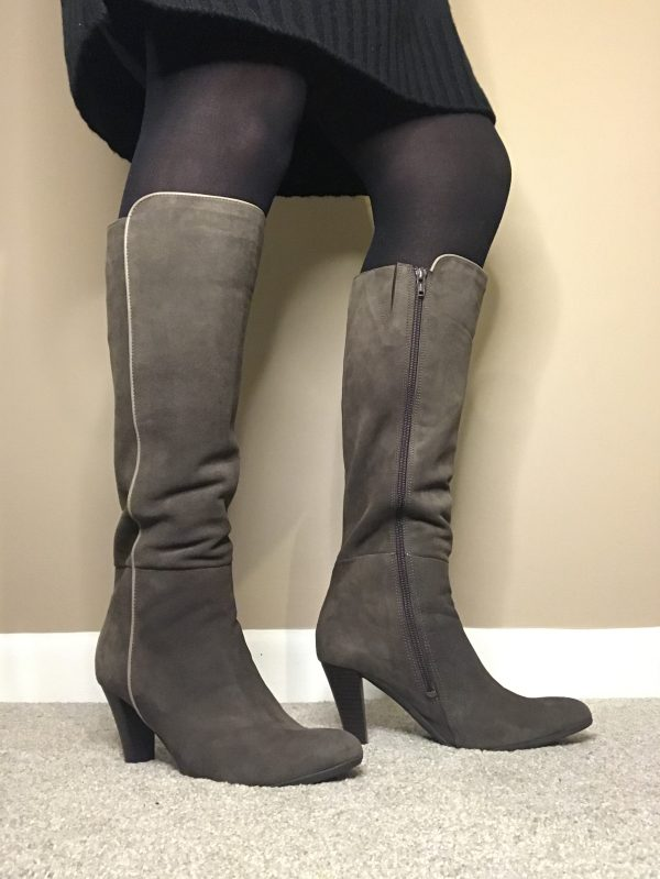 """Cefalu """"Vauxhall"""" BL485320 taupe suede leather boot with 3.5"""" heel"""