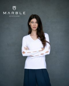 Marble 6019 v neck soft touch top with hole sleeve pattern