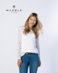 Marble 6052 two piece, boat neck pointelle linen cotton outer knit with vest top
