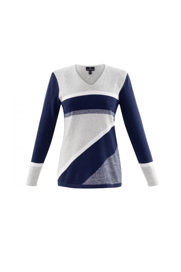 Marble 6103 horizontal and diagonal striped block cotton jumper with v neck
