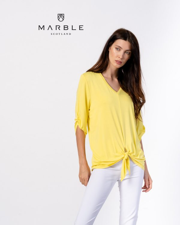 Marble 6148 v neck, tie front soft top with elbow length sleeves