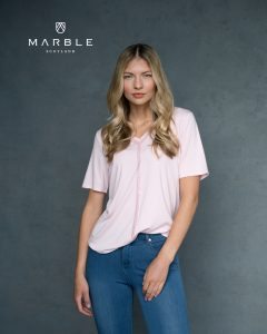 Marble 6149 v neck t-shirt with pretty subtle sequin decoration