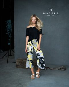 Marble 6180 stunning yellow and black print crop trousers with split hem