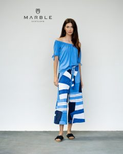 Marble 6182 multi blue abstract print crop trousers with split hem
