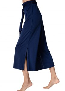 Marble 6183 plain navy crop trousers with split hem