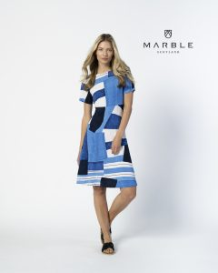 Marble 6197 multi blue abstract print reversible dress with round or v neck