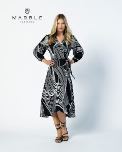 Marble 6198 long sleeve wrap dress with side tie and v neck in black and white