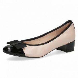 Caprice 9-22155-26 rose gold suede metallic leather pump