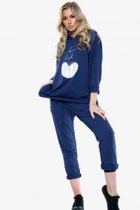 "LV, oversized lounge set with hood and ""Be Kind"" silver foil heart motif"