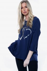 LV, oversized top with foil linked heart motif