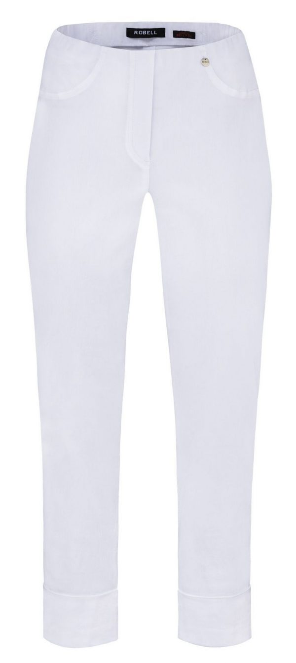 """Robell """"Bella"""" 51568 5499 white ankle grazer trousers with cuff hem"""