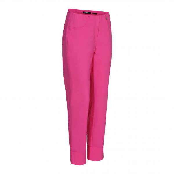 """Robell """"Bella"""" 51568 5499 bright pink ankle grazer trousers with cuff hem"""