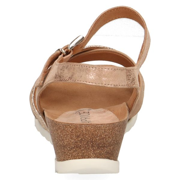 Caprice 9-28208-22 multi Rose gold and taupe suede leather sandal