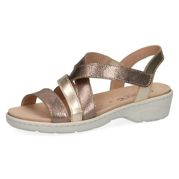 Caprice 9-28250-22 velcro ankle strap taupe/gold glitter leather sandals