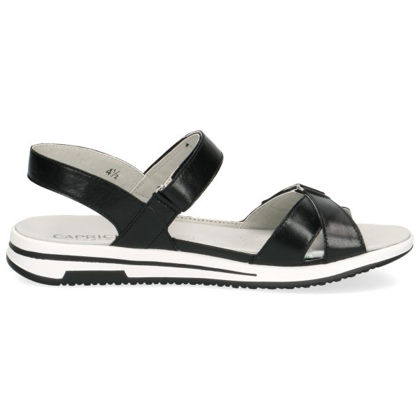Caprice 9-28600-22 black nappa leather sandal with velcro straps and removable footbed