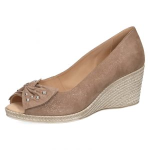 Caprice 9-29350-22 taupe sparkle peep toe leather wedge with bow and silver stud decoration