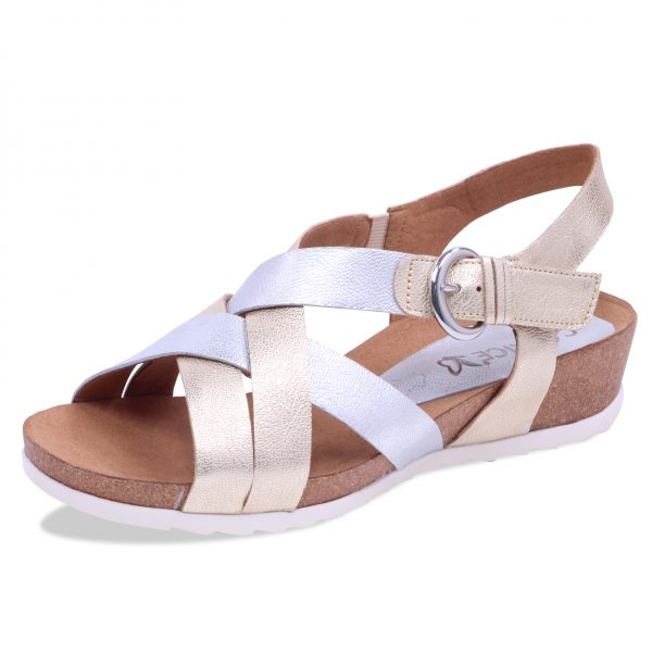 Caprice 9-28611-20 Metallic gold and silver leather sandal