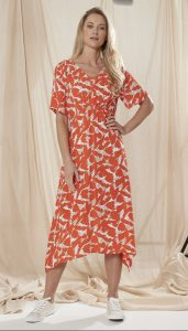 Adini Cuba Calypso print calf length dress with v neck and short sleeves