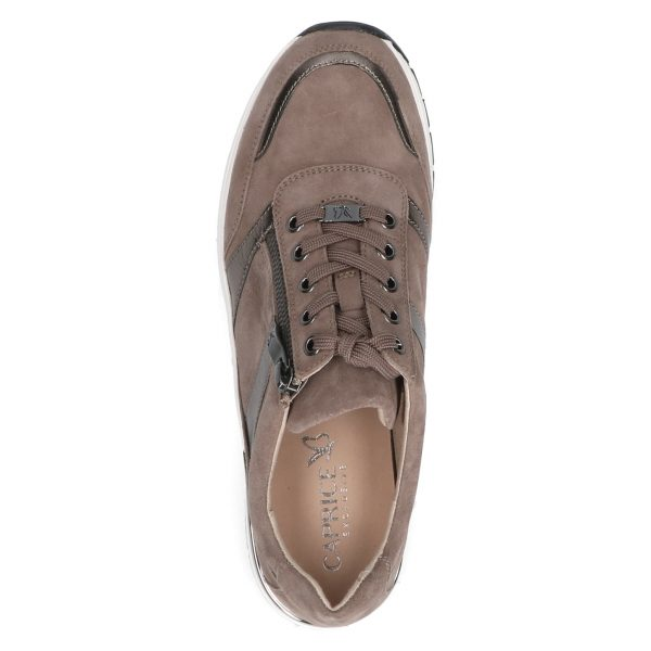Caprice 9-23752-27 stone suede leather and textile combination trainer with zip or lace up fastening