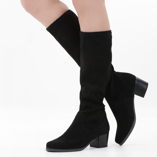 Caprice 9-25506-27 knee length black stretch fabric boot with 5cm heel
