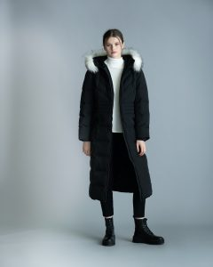 Marble Quilted coat with hood, inner fleece lining and tape detail with faux fur detachable trim detail at hood