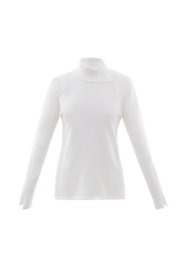 Marble 6317 Super soft viscose mix polo neck fitted sweater with split detail at  neck and cuff