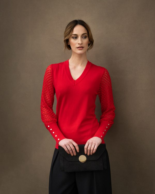 Marble 6320 Super soft viscose mix classic fit V neck sweater with textured knit blouson sleeve and deep rib cuff