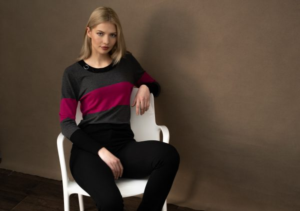 Marble 6325 Super soft viscose mix Scoop neck three colour classic fit sweater with ring detail at the neck
