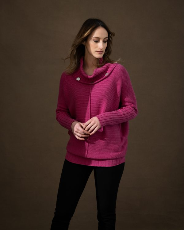 Marble 6361 Super soft 100% cotton chunky knit oversized sweater with cowl neck and button detail