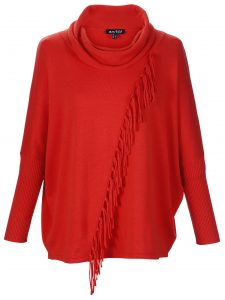 Marble 6373 Super soft 100% cotton asymetric fringe detail oversized fit batwing sweater with soft cowl neck and long sleeve