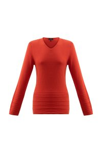 Marble 6376 Super soft 100% cotton V neck  fitted sweater with long sleeve and  raised knit detail